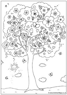 Lieve kleurplaat met boom en hartjes | Sweet coloring page with a tree and heart shapes