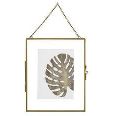 Cadre photo 13x18 à suspendre en verre et métal doré