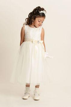 Flower Girl Dress Style 2720-Ivory Sleeveless with Tulle Skirt - Flower Girl Dress For Less