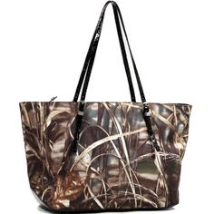Realtree® Wide Carry-All Camouflage Tote Bag with Thin Shoulder Straps - Black Croco Trim