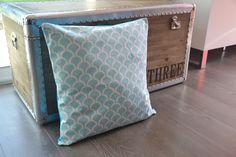 Housse de coussin 40x40 tissu billow aqua : Textiles et tapis par june-boutik