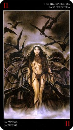 The High Priestess - Royo Dark Tarot - If you find a Priestess Pin that reminds you of me, please tag me and post.  :)