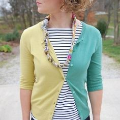 Upcycle Two Cardigans to Make a Unique Two Tone Cardigan.