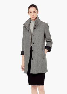 Abrigo cuello chimenea - Abrigos de Mujer | MANGO