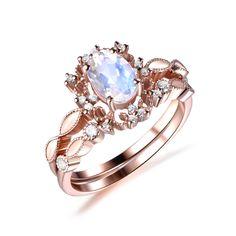 Oval Moonstone Engagement Ring Bridal Sets Diamond Tiara Wedding Band 14k Rose Gold 5x7mm - 6.25 / 14K Yellow Gold