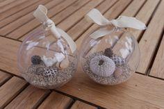 A la plage - Boules de Noël pour palmier - sable et coquillages