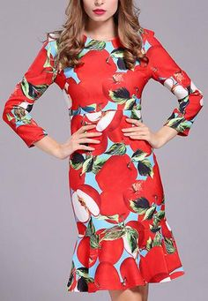Apple-Print Flared-Hem Dress