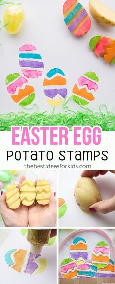 Love this Easter Paper Plate Basket with potato stamped Easter eggs! This is a perfect Easter craft for kids. #easter #eastercraft #kidscraft #papercraft via @bestideaskids