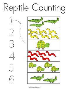Reptile Counting Coloring Page - Twisty Noodle Preschool Lesson Plans, Preschool Themes, Preschool Classroom, Preschool Worksheets, Kindergarten Activities, Toddler Activities, Preschool Activities, Counting Activities, Reptiles Preschool