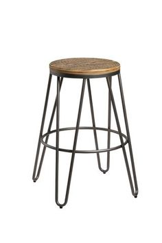 These bar stools are perfect for anyone wanting to inject a little industrial chic to their kitchen area. Solid wood seat with metal hairpin design leg in a choice of black or gold paint finish. Value Furniture, Eclectic Furniture, Quality Furniture, Luxury Furniture, Kitchen Breakfast Bar Stools, Brown Bar Stools, Lounge Suites, Wooden Tops, Black Metal