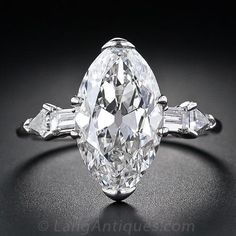 This magnificent and majestic original Art Deco Diamond ring, circa highlights a bright-white and beautiful antique-cut marquise/oval shape diamond - or Moval - accompanied with a GIA - Gem Trade Laboratory certificate stating: G color - VVS Bijoux Art Deco, Art Deco Jewelry, Fine Jewelry, Jewelry Shop, Jewellery, Jewelry Stores, Art Deco Diamond Rings, Diamond Jewelry, Diamond Art