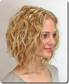 Image result for a line bob curly