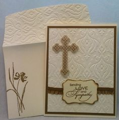 handmade sympathy card from All That Scrap ... vanilla a Baked Brown Sugar ... baroque embossing folder texture on card background and envelope flap ... stamped and cut out cross popped up ... like it!! .. Stampin' Up!
