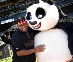 """The Panda"" Pablo Sandoval with The Panda lol"