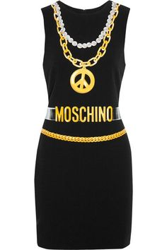 Moschino - Printed Crepe Mini Dress - Black - IT