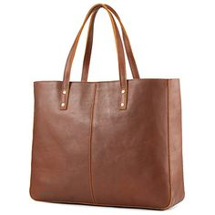 online shopping for Kattee Vintage Cowhide Leather Tote Bag Large Handbag (Brown) from top store. See new offer for Kattee Vintage Cowhide Leather Tote Bag Large Handbag (Brown) Large Handbags, Purses And Handbags, Black Handbags, Cowhide Leather, Cow Leather, Look Fashion, Fashion Bags, Brown Fashion, Fashion Women