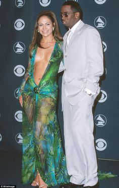 Ahhh, the good ole days: Lopez and Diddy at the Grammys in 2000; this Versace dress helped...