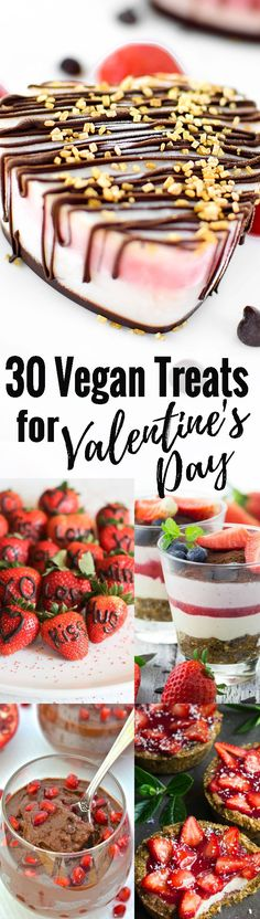 These 30 vegan dessert recipes are perfect for Valentine's Day! If you're looking for Valentine's Day recipes, this post is perfect for you. Surprise your loved ones with one of these vegan treats! <3 Find more vegan recipes at veganheaven.org !