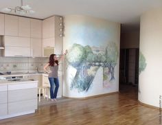 Jerum Landscape Hand Painted On The Kitchen Wall Ble Bee Murals