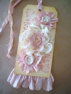Shabby Gift Tag Altered Hang Tag Handmade Fabric Flowers Romantic