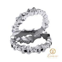 Verighete din aur alb cu diamante negre si diamante incolore ESV24 Aur, Floral, Design, Flowers, Flower