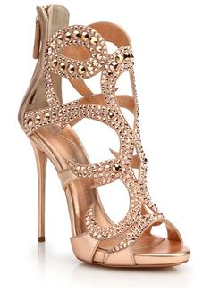 """crystal-embellished metallic leather sandals by Giuseppe Zanotti. Tonal crystals elevate striking metallic cage sandal. Self-covered heel, 4.75"""" (120mm).Metallic leather upper with Swarovski crystals. Open toe. Back zip. Leather lining and sole. Padded insole. Made in Italy. #giuseppezanotti #nudeshoes #sandals"""