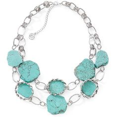 east 5th Semi-Precious Turquoise Nugget Row Neckla Turquoise