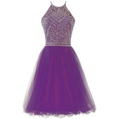 Icy Sun Women's Halter A Line Short Prom Dresses Tulle Crystals... ($69) ❤ liked on Polyvore featuring dresses, gowns, short purple dresses, prom dresses, short homecoming dresses, purple evening dress and purple dresses