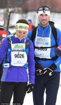 Skiing buddies: Pippa Middleton and her partner James Matthews put on an affectionate disp...