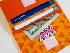 Women's, Fabric Wallet, Bright, Orange, Butterflies, Gift, Card Holder, Change Purse, Handmade by EyeCandyQuilts, $8.75