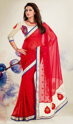 Red Embroidered Faux Georgette Saree Price: Usa Dollar $84, British UK Pound 50£, Euro62, Canada CA$91 , Indian Rs4536.