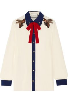 Gucci | Pussy-bow embellished silk crepe de chine shirt | NET-A-PORTER.COM