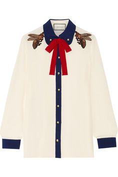 Gucci | Pussy-bow embellished silk crepe de chine shirt | NET-A-PORTER.COM