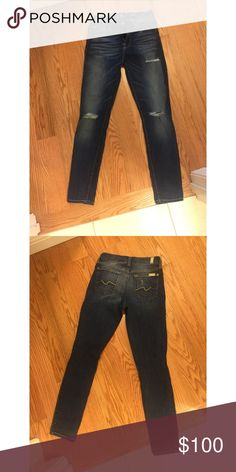 Distressed 7 for all mankind ankle gwenevere NWOT. Never ever been worn. It is so so so soft. I cut off the tags and tried it on before realizing that I bought the wrong size.  (I'm always a 24 and wondered how come it was a tad loose in the rear.)  I have many pairs of this style jeans and I absolutely love it. 7 For All Mankind Jeans Skinny