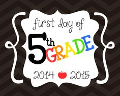 FREE First Day of School Printables - First Day of 5th grade