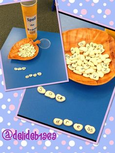 Spelling with beans! Linked to Jack and the Beanstalk activity Fairy Tale Activities, Spelling Activities, Alphabet Activities, Literacy Activities, Nursery Activities, Literacy Stations, Traditional Tales, Traditional Stories, Eyfs Jack And The Beanstalk