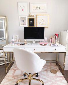 Home Office Inspiration Cozy Home Office, Home Office Design, Home Office Decor, Home Decor, Office Ideas, White Desk Office, Cool Office Space, White Desk Decor, White Desk Bedroom