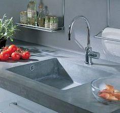 Concrete Countertop and sink Kitchen Inspirations, Countertops, Concrete Countertops, Shed Homes, Home Kitchens, Kitchen Living, Kitchen Extension, Concrete Decor, New House Plans