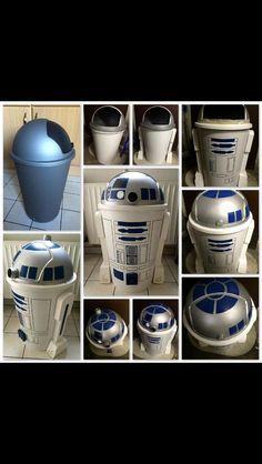 Poubelle recyclée en robot star wars déco DIY - Star Wars Canvas Art - Ideas of Star Wars Canvas Art -