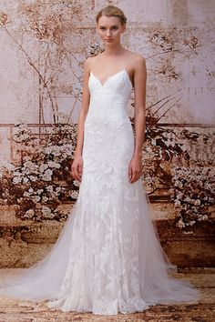 Sienna, Wedding Dress, Fall Winter 2014, Monique Lhuillier Silk white chantilly lace lingerie strap sheath Silk white detachable tulle train