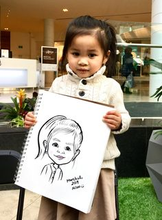 This is a caricature drawn from Niloo the caricature artist of a little girl at a kids birthday party in Toronto Caricature Artist, Caricature Drawing, Favours, Toronto, Little Girls, Sketch, Birthday Parties, Portrait, Book