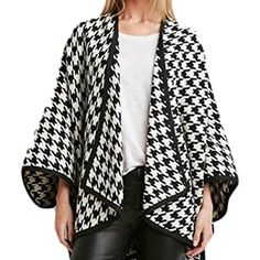 Women's Houndstooth Open Front Cardigan Loose Shawl Trench Coat * Read more reviews of the product by visiting the link on the image. (This is an affiliate link and I receive a commission for the sales)