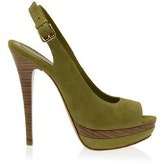 olive suede & wood heels...if I needed to wear heals I would consider these...hmmmm