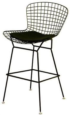 """Seat 27.75""""  --  Baxton Studio Contemporary Wire Bar Stool in Black w Seat Pad - Set of 2 by Wholesale Interiors, http://www.amazon.com/dp/B0067LU268/ref=cm_sw_r_pi_dp_vsd6rb15BWZWY"""