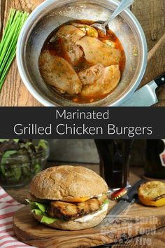 These marinated grilled chicken burgers are juicy, tender and full of flavor. Perfect for a weeknight summer meal or BBQ. #bbq #chickenburgers #marinatedchicken #chickenbreastburger #grilledchicken via @earthfoodandfire