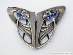 Schmuck Silber Deutschland um1902 Guertelschnalle blaues Email Jugenstil