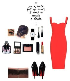 """""""The red dress"""" by nominjiguur on Polyvore featuring Victoria Beckham, Christian Louboutin, Nina Ricci, Kenneth Jay Lane, Christian Dior, Chanel, NARS Cosmetics, Yves Saint Laurent and girlsnightout"""