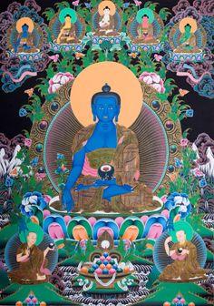 Thangka Art: Bhaiṣajyaguru (Medicine Buddha) 藥師佛