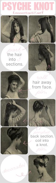 Edwardian hair how-to, in the style of The Beauty Department. Original images from Girls Own Paper & Woman's Magazine, 1911.