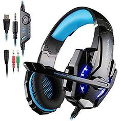 AFUNTA Gaming Headset for PlayStation 4 PS4 Tablet PC iPhone 6/6s/6 plus/5s/5c/5 3.5mm Headphone with Microphone LED Light - Black  Blue
